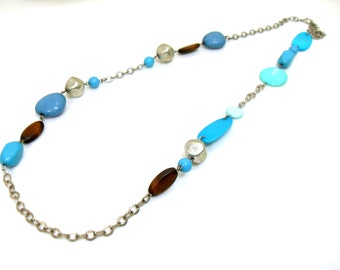 Boho Beaded Blue Brown Long Chain Necklace, Turquoise Beaded Necklace, Long Necklace
