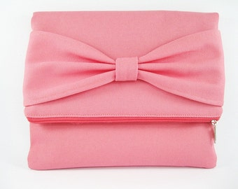 Fold Over Clutch, Personalized Clutch, Coral Pink Bow Clutch, Bridal Gift, Bridesmaid Gift, Wedding Clutch, Zipper Bag, Zipper Clutch