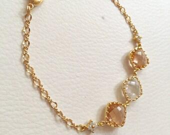 champagne gold peach clear crystal bracelet,bridal bridesmaid bracelet,3 stone crystal bracelet,wedding bracelet,birthday gift,gift for mom