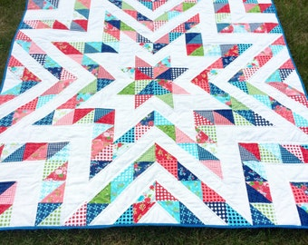 Gooseberry Modern Half Square Triangle Quilt