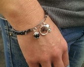 Adjustable Gothic Dreamcatcher Bracelet/Bangle Set, black, with skull charm and onyx beads