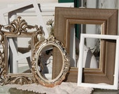 PICTURE FRAMES / Picture Frame Set / 6  Shabby Chic Frames /  Vintage Style Picture Frames