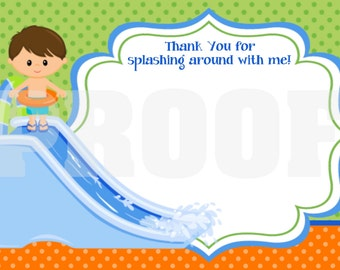 INSTANT DOWNLOAD - Thank You Card - Water Slide Boy (updated) - print your own