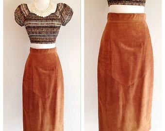 SALE! Vintage Southwestern Suede Pencil Skirt