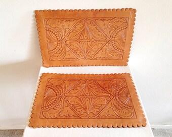 Vintage Tooled Leather Placemats Boho Decor