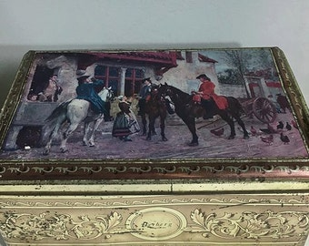 AMAZING Antique Tin Box, distressed, old, vintage.