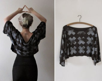 Hand Printed Long Sleeved Jersey Crop Tee - Multiply Print - Black/Grey
