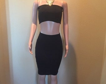 Two Piece Tube Top and Pencil Skirt Jean Set