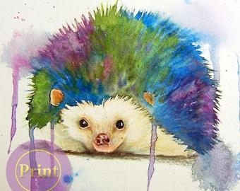 PRINT  Rainbows  the hedgehog is watercolor