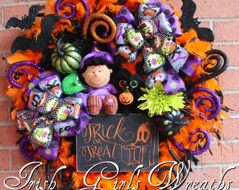 Peanuts Lucy Witch Halloween Wreath, black cat, Trick or Treat Box Sign, Great Pumpkin, Snoopy, Charlie Brown