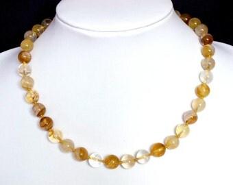 Gemstone Necklace Yellow Iron Quartz 10mm Round Beads NSQI3088