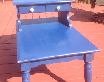 SALE!!! Vintage distressed blue end table shabby chic