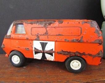 Small Tonka Truck Vintage Red Metal Van