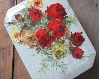 Vintage Tin Roses Large Hindged Box