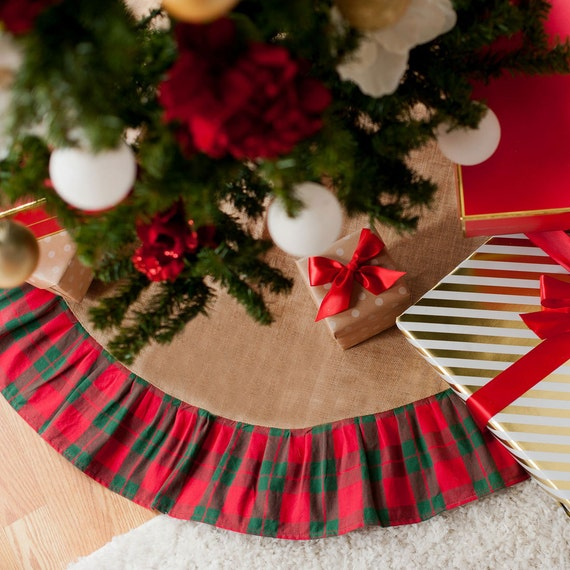 Monogrammed Christmas Tree Skirt, Holiday Plaid Tree Skirt
