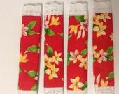 CLEARANCE! 2 sets (4) Fridge Handle Covers, Hawaiian, Red, Plumeria, Cotton