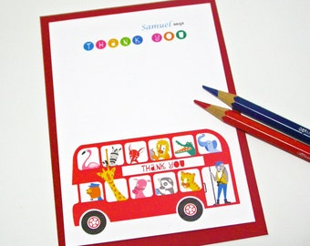 12 London Bus Thank You Card