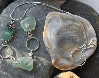 sea glass necklace genuine beach glass snake silver plated chain, bridesmaid jewelry seaglass