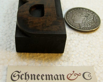 """3 3/8"""" antique wood type upper case B. Natural patina. Beautiful old letter."""