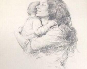 """Mano di """"Madre e bambino"""" di Leo Jansen tirato pietra Litografia firmata e numerata"""