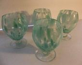 Vintage art glass drinking glasses, wine glasses, teal aqua, set of four wine glasses,  home decor, bar decor, serving, kitchen and dining,