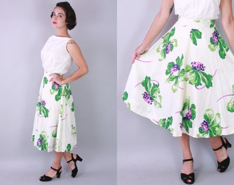 1950s Floristics skirt | vintage 50s cotton full skirt | extra small