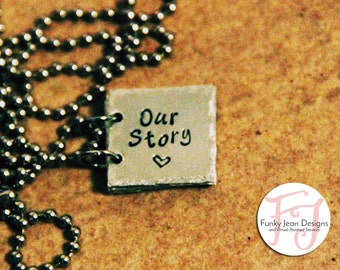 Our Story Custom Book Necklace with Family's names, anniversary, and birthdays