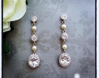 Long Pearl Bridal Earrings, Long Bridal Earrings, Dangle Wedding Earrings, Bridesmaid Earrings, Bridal Earrings, Wedding Jewelry