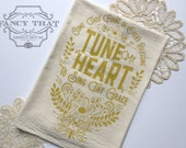 Come Thou Fount / Tune My Heart to Sing Thy Grace. Hymn Natural Cotton Flour Sack Tea Towel. Hymn Art. Hostess Housewarming gift.