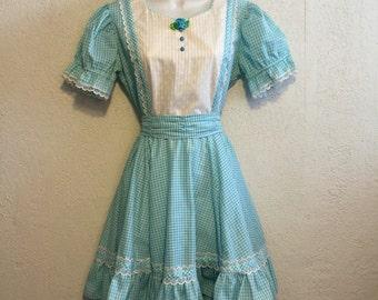 Sweet Vintage Aqua Gingham SquareDance Dress