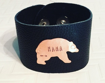 Mama Bear Bracelet - Hand Stamped Personalized - Arrow - Copper & Black Leather Cuff