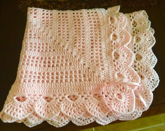 Crochet delicate pink baby girl blanket w/bows 31 x 31