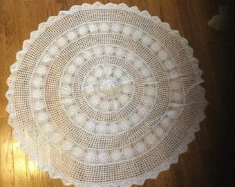 Vintage Crocheted White Round Tablecloth
