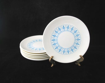 7 Homer Laughlin  Blue Fleur de Lis Bread Plates Vintage 1960s SET of 7