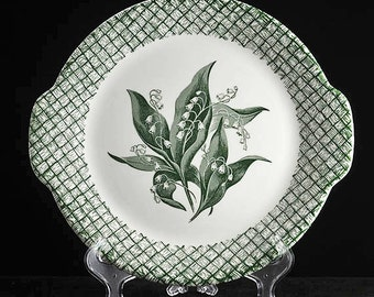 Lily of the Valley Handled Cake or Serving Plate by Primrose China in Green and White