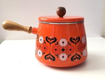 Vintage Orange Enamel Fondue Pot Mid Century Kitchen