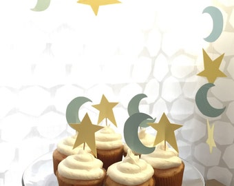 Stars and Moons Cupcake and Treat Toppers  Celestial Party Decorations Celestial Baby Shower Celestial Wedding