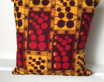 African Print Throw Pillow Cover