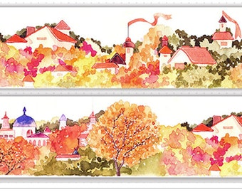 1 Roll of Limited Edition Washi Tape: Lovely Village's Autumn View