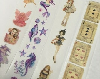 1 Roll of Limied Edition Washi Tape (Pick 1):  Fairy, Mermaid and Marine Life, Lolita, or Alice's Poker