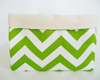 Storage Basket Fabric Organizer in Zig Zag Chartreuse/White Chevron & Canvas, Toy, Nursery Storage, Home, Office  - Choose Size