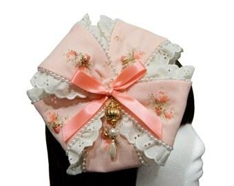 Strawberry Rose Milk Tea Beret Bow Fascinator