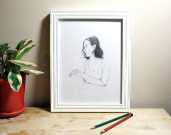 Original Portrait Pencil Drawing Graphite Girl Turned to the Side