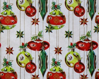 Vintage Kaycrest CHRISTMAS Gift Wrap - Wrapping Paper - ATOMIC ORNAMENTS - with coordinating gift tag - 1950s