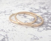 9ct Rose Gold Wedding Ring - 1.2mm Slim Rose Gold Band - Hammered or Smooth - Skinny Band Ring