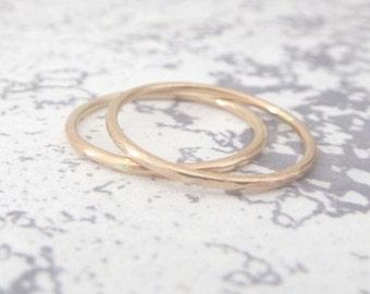 9ct Rose Gold Wedding Ring - 1.2mm Slim Rose Gold Band - Hammered or Smooth - Skinny Band Ring