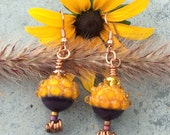 Acorn Lampwork Earrings, Fall, Halloween