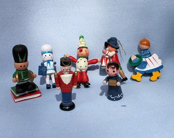 Lot of Vintage Wooden Christmas Ornament Figurines