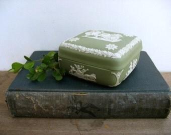 Wedgwood sage green jasper ware lidded box, angel in chariot, warrior, cherubs, made in England, trinket box,jewelry box