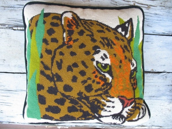 Animal Print Needlepoint Pillows : Leopard needlepoint pillow 1970 s hand stitched leopard